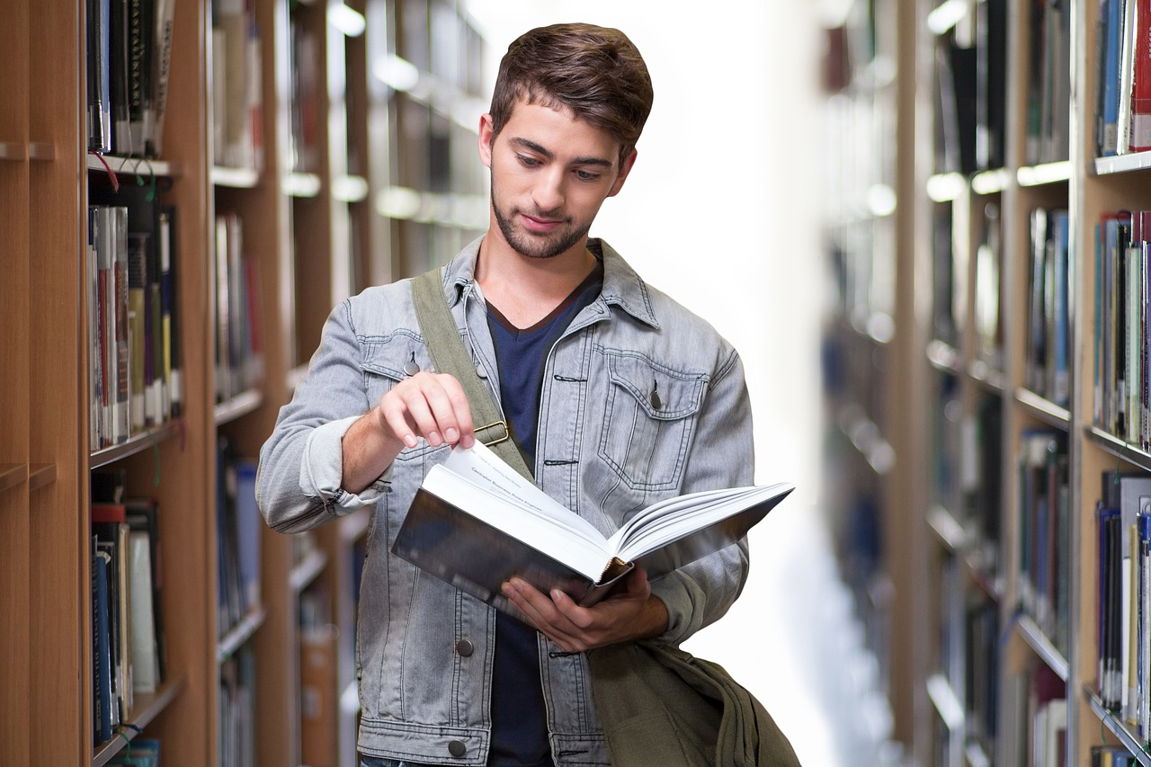 student, library, books